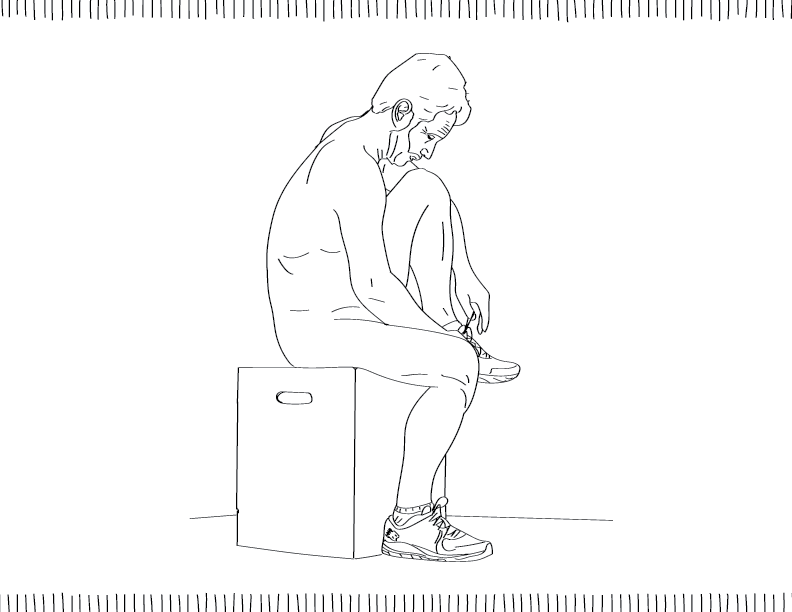 crude mono trace of a nude male figure with a beard tying his shoes