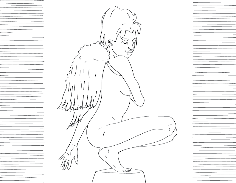 crude mono trace of a nude female figure, crouched, wearing angel wings