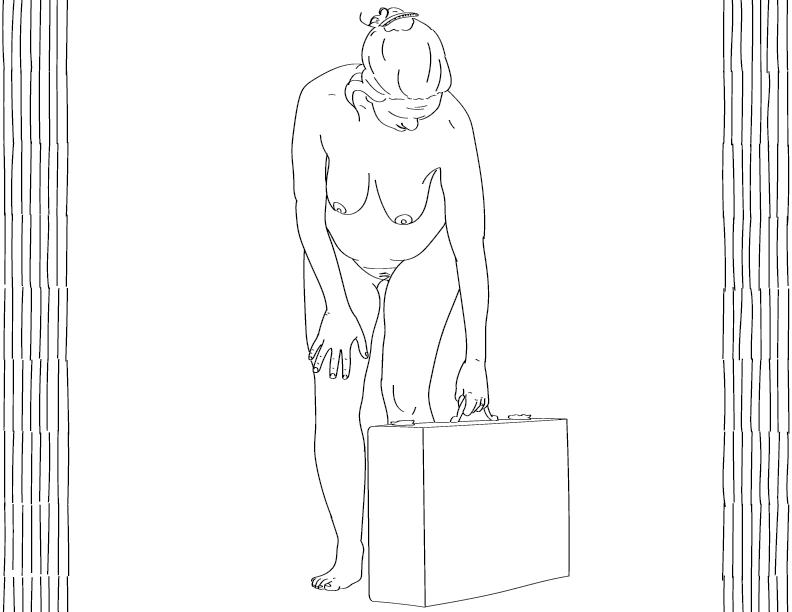 crude mono trace of a nude female figure lifting a box
