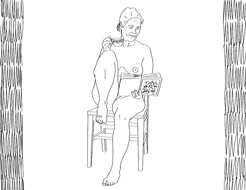crude mono trace of a nude female figure enjoying a cup of tea and a good book