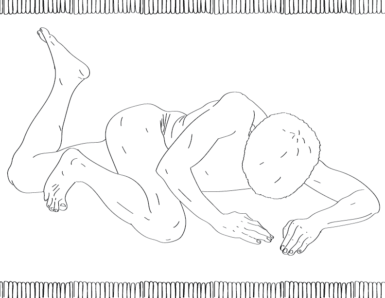 crude mono trace of a nude male figure splayed face-down on the floor