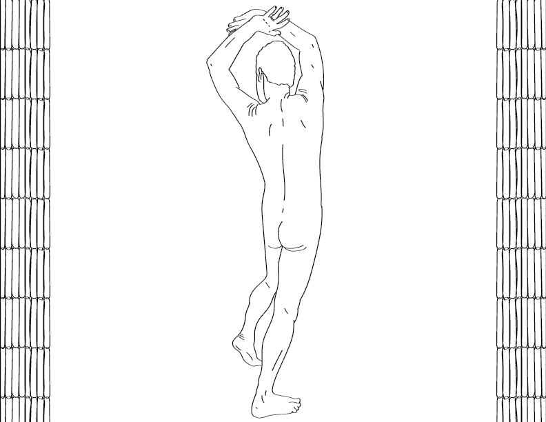 crude mono trace of a nude male figure posing away from the viewer