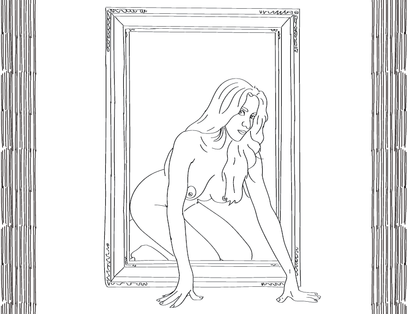 crude mono trace of a nude female figure crawling suggestively through a portrait frame