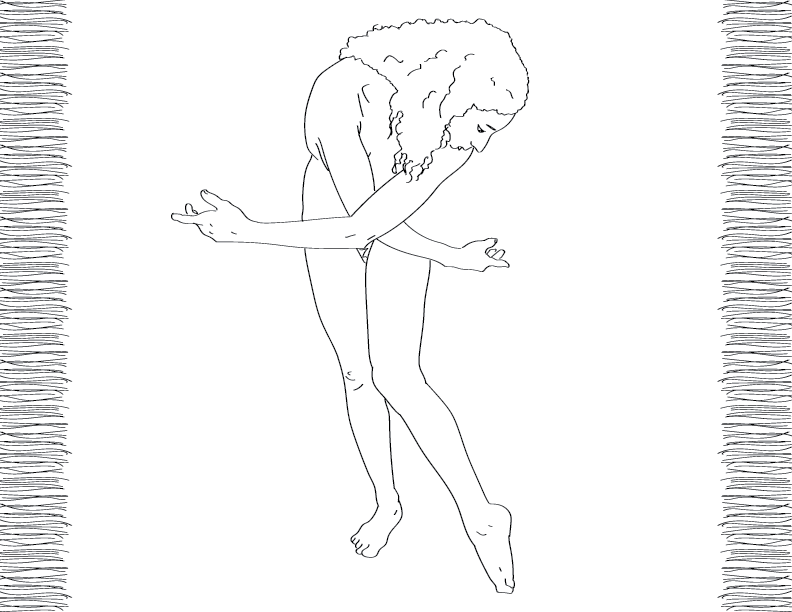 crude mono trace of a nude female figure bent with her arms akimbo-ish?