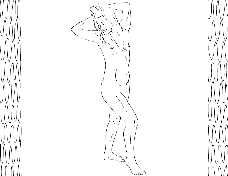 crude mono trace of a nude female figure posing with her eyes closed and a gentle smile on her face