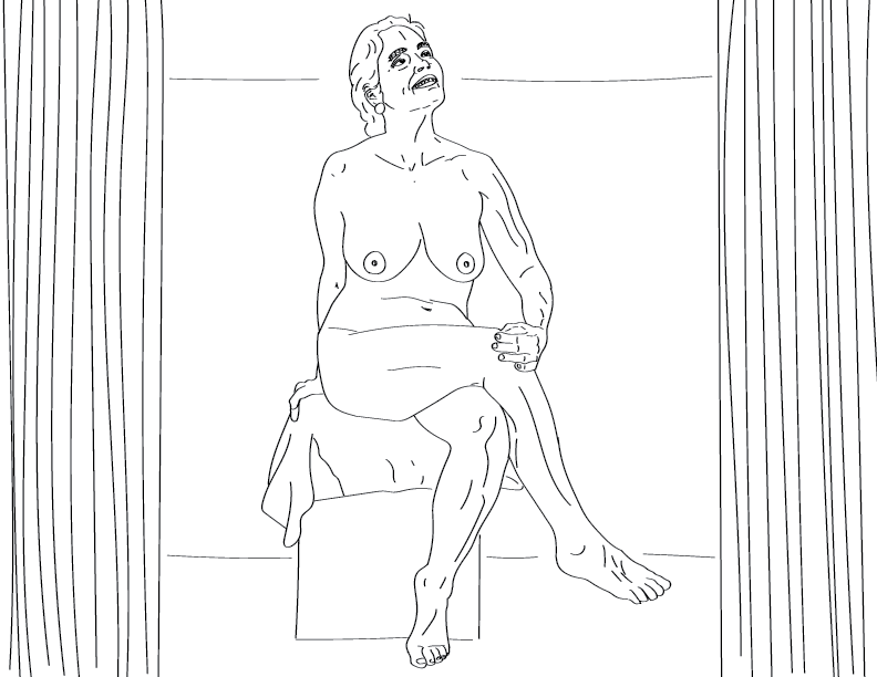 crude mono trace of a nude female figure sitting on a box and smiling at something above her