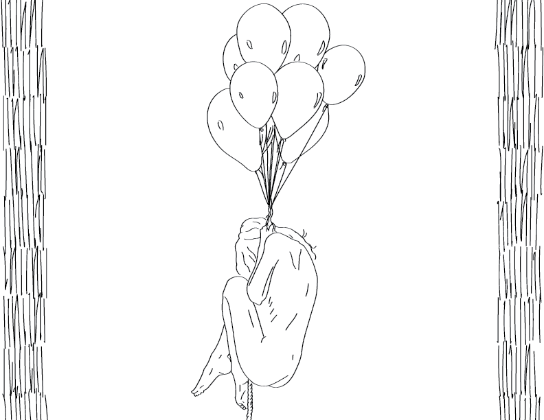 crude mono trace of a nude female figure clutching to a bouquet of balloons