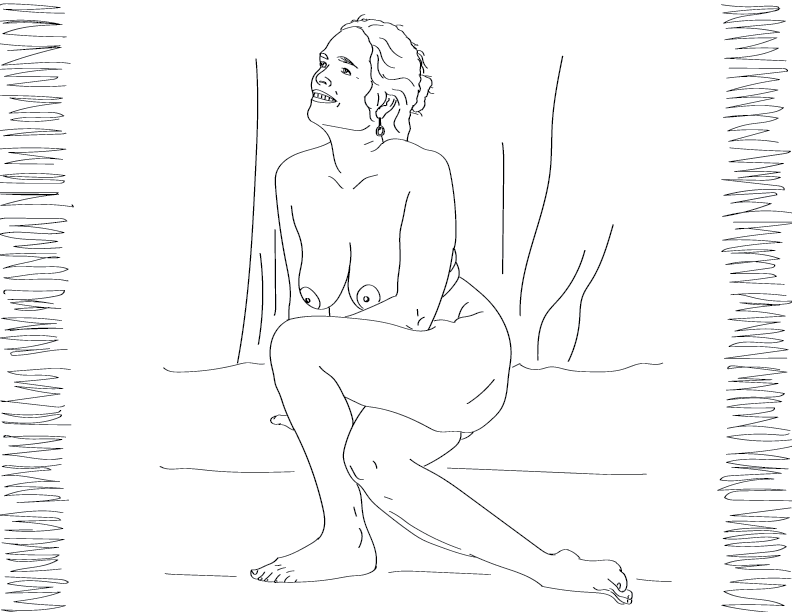 crude mono trace of a nude female figure sitting with her legs crossed
