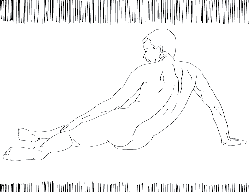 crude mono trace of a nude male figure laying on the floor looking sad
