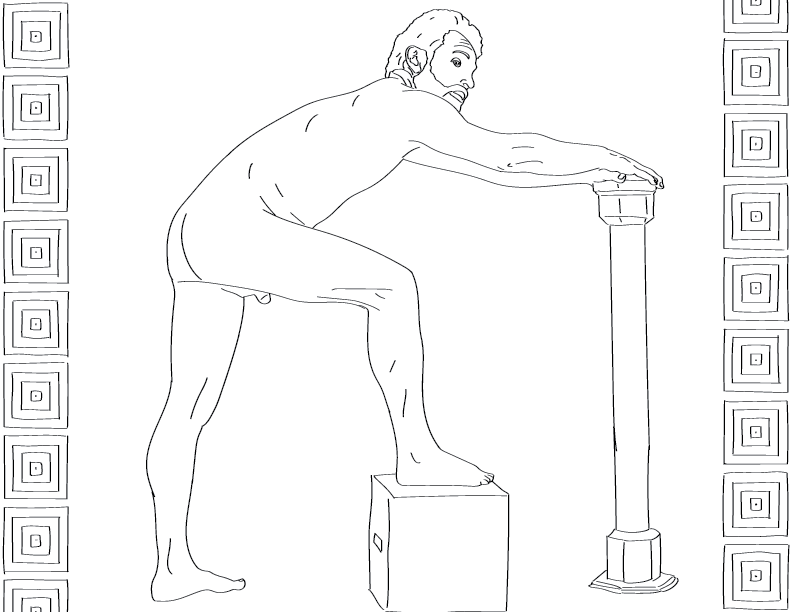 crude mono trace of a nude male figure with a foot on a box and his hands on a post