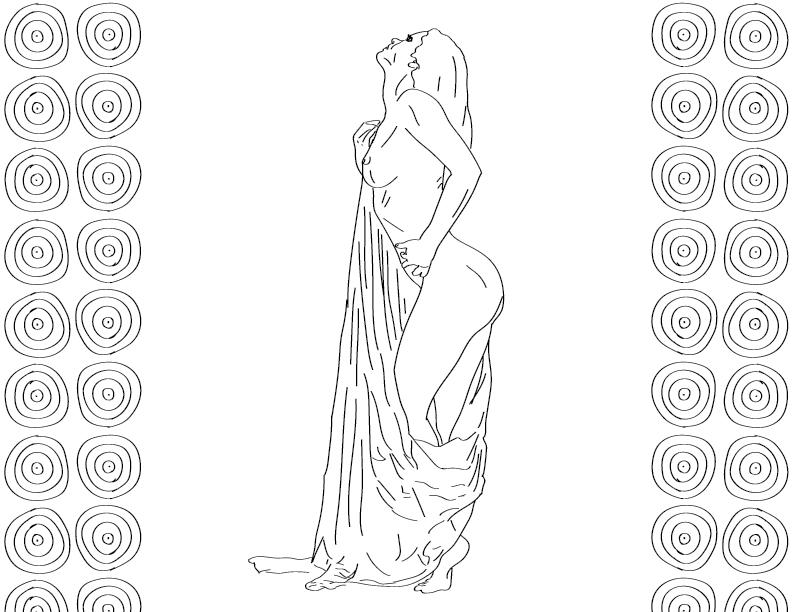 crude mono trace of a nude female figure posing while clutching a drape