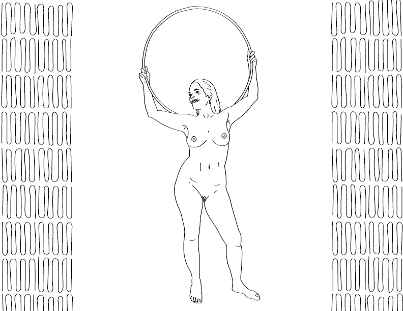 crude mono trace of a nude female figure smiling while holding a hula hoop over her shoulders