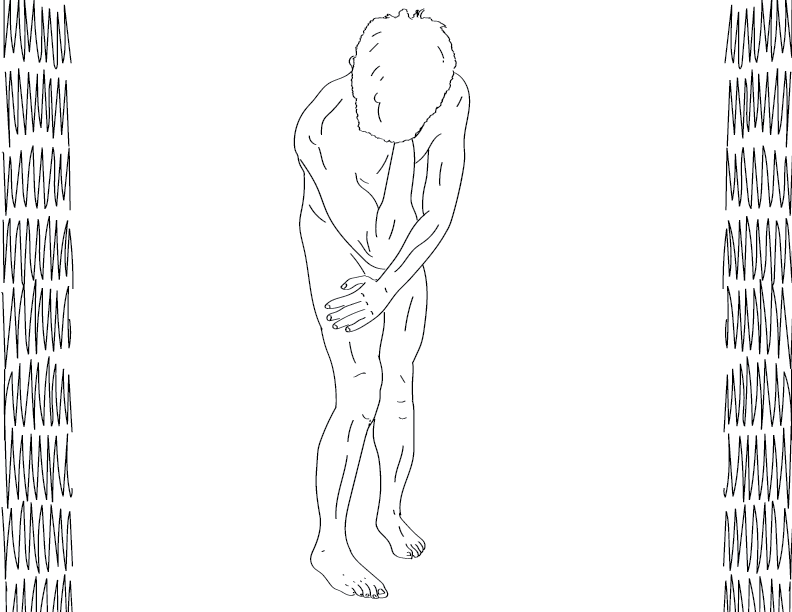 crude mono trace of a nude male figure bent over with his hand on his concealed face