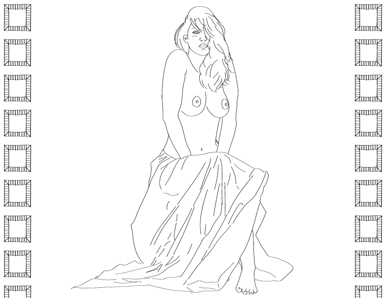 crude mono trace of a nude female figure sitting with her legs covered with a drape