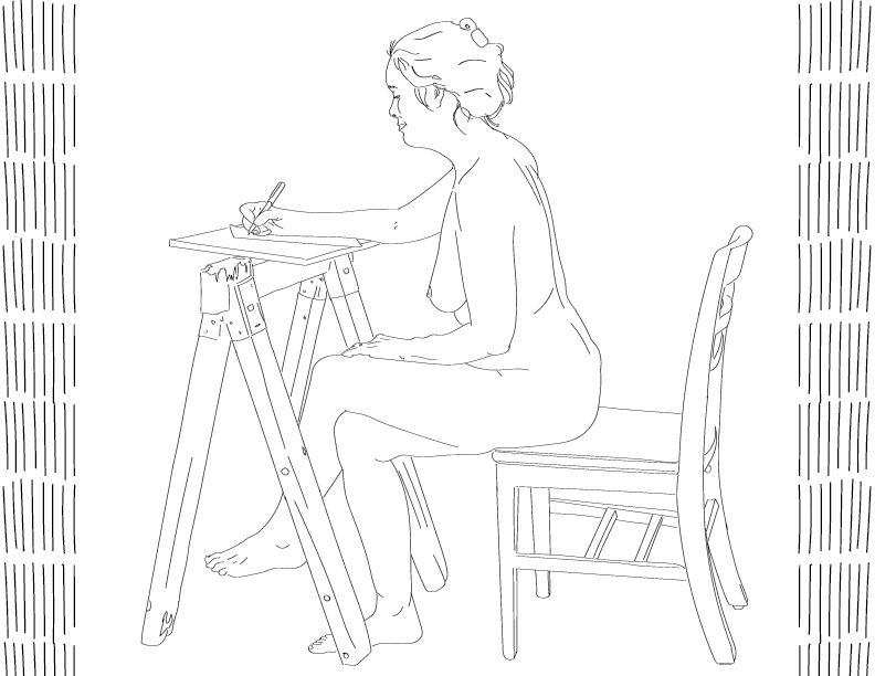 crude mono trace of a nude female figure seated at a sawhorse with a pen and paper