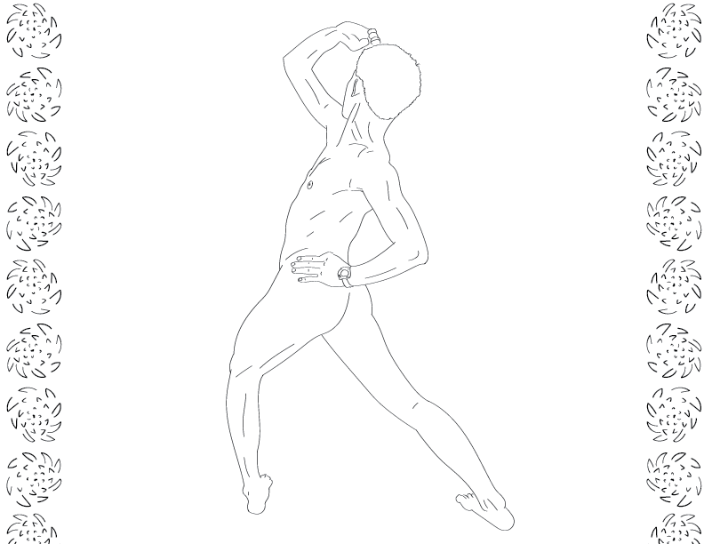 crude mono trace of a nude female figure striking a power stance away from the viewer