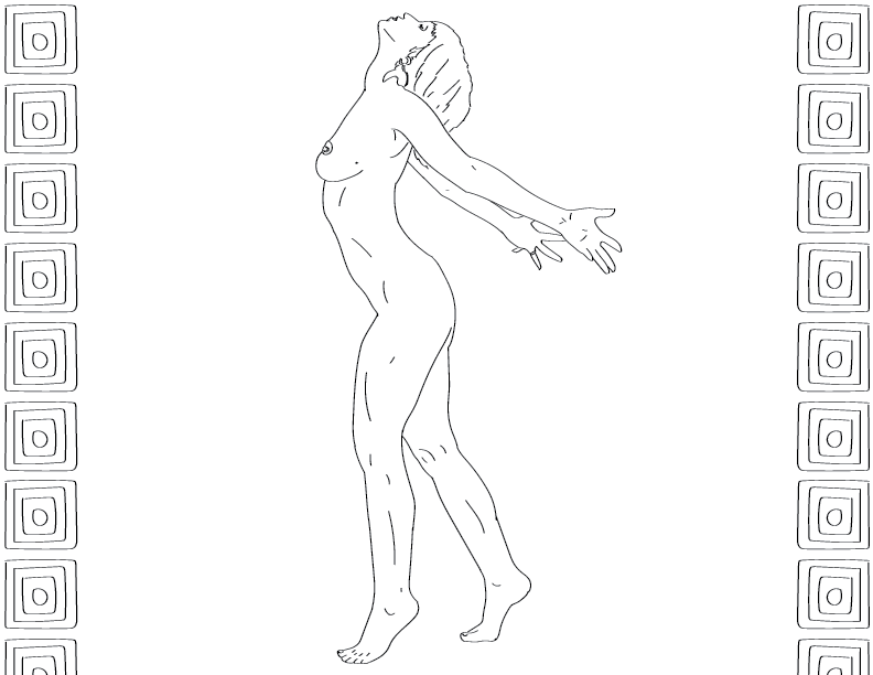crude mono sketch of a nude female figure spreading her arms with her face raised