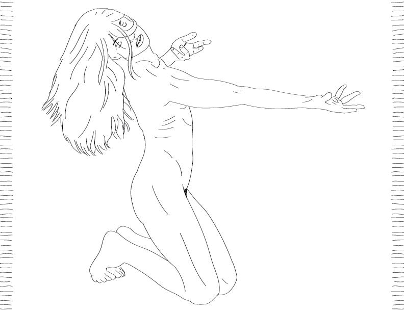 crude mono trace of a nude female figure on her knees, eyes closed, reaching out with open hands
