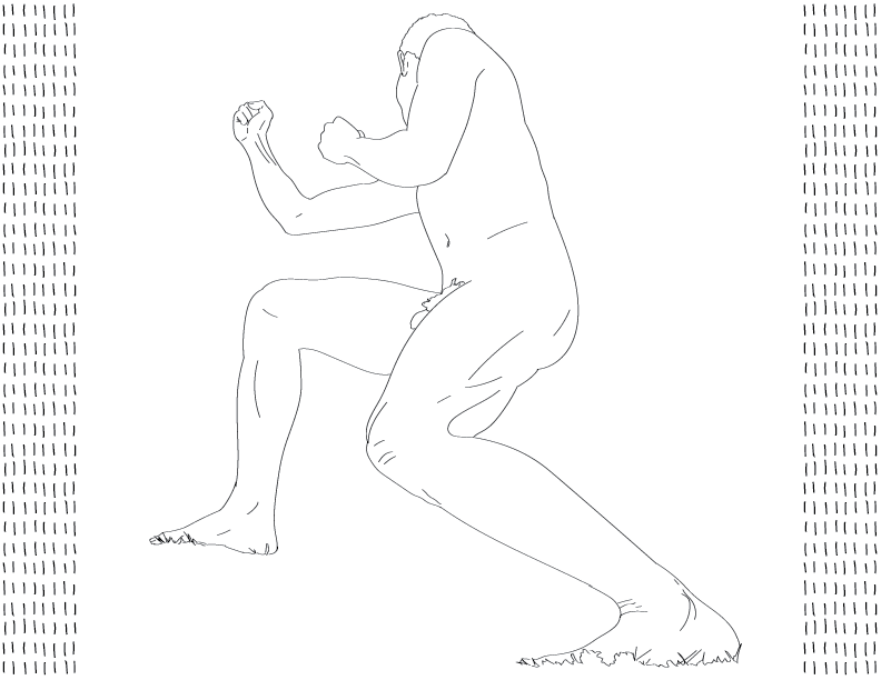 crude mono trace of a nude male figure crouched in a fighting stance, foreshortened