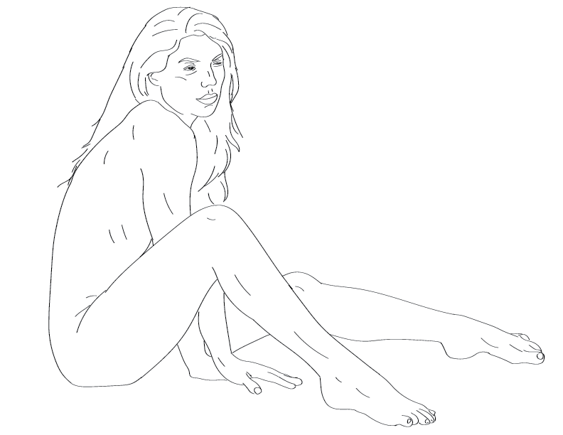 crude mono trace of a nude female figure sitting on the floor