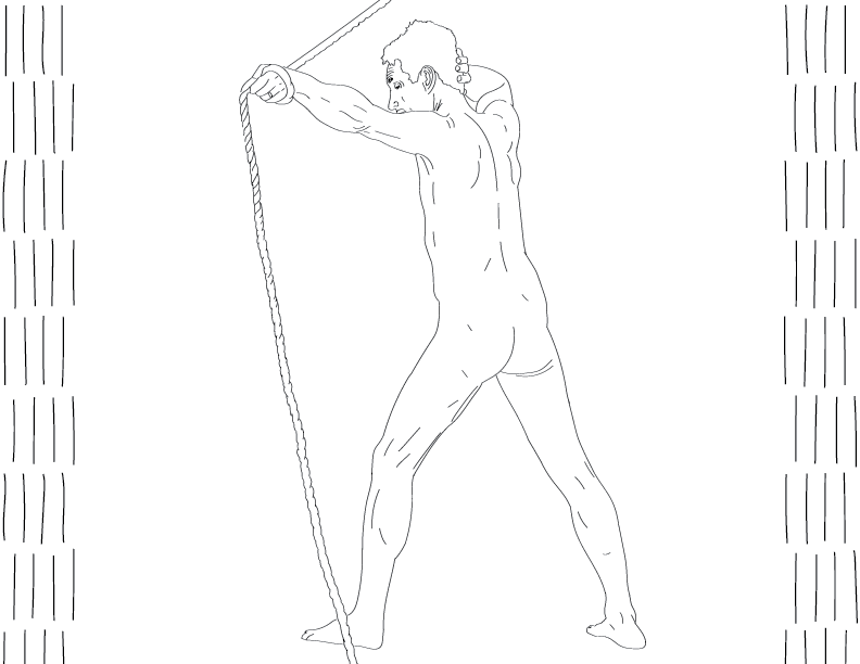 crude mono trace of a nude male figure holding a rope and his head