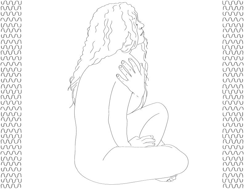 crude mono trace of a nude female figure sitting with her body covered