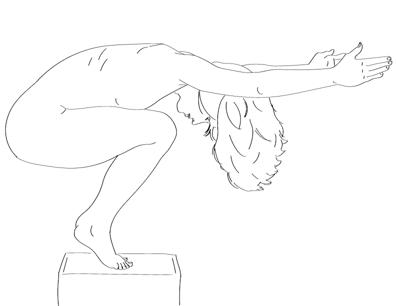crude mono trace of a nude female figure squatting on a box with her arms extended