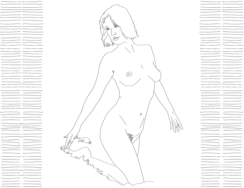 crude mono trace of a nude female figure kneeling in a shaggy blanket