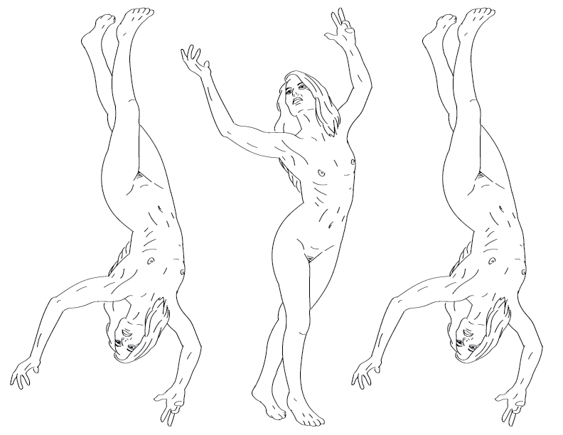 crude mono trace of a nude female figure praising the sun, tripled and flipped