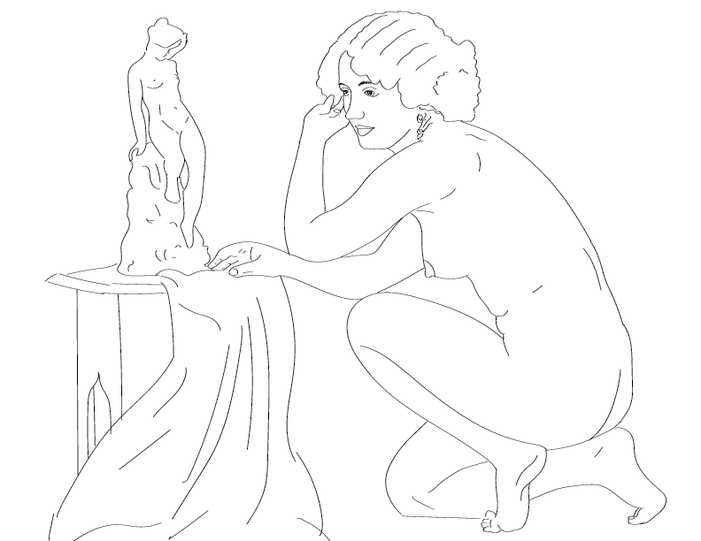 crude mono trace of a nude female figure crouched beside a tiny naked female statue