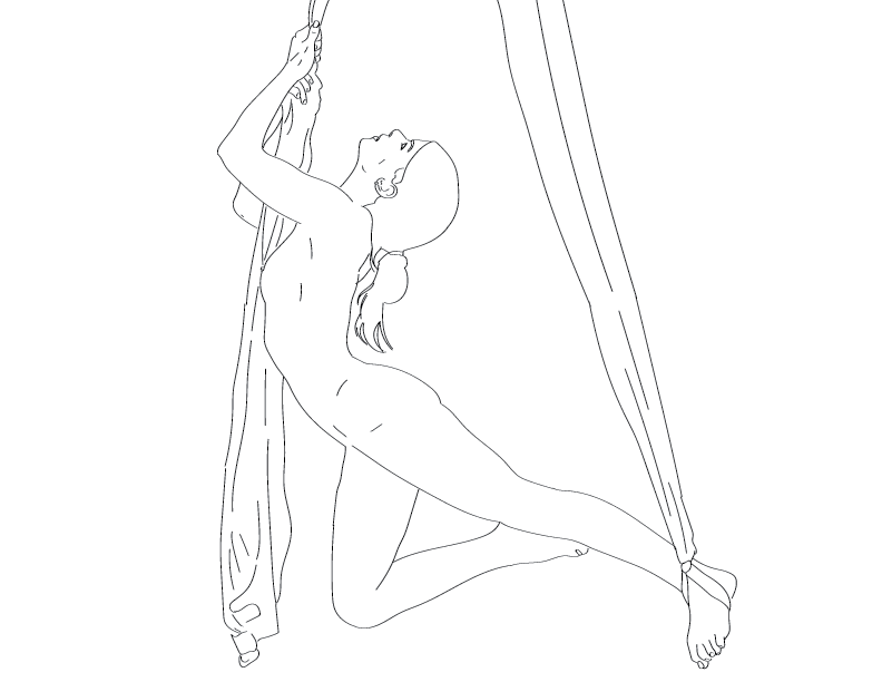 crude mono trace of a nude female figure holding onto drapes