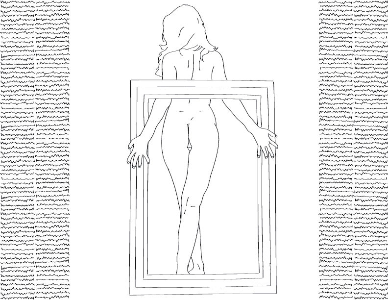 crude mono trace of a nude female figure emerging from a picture frame