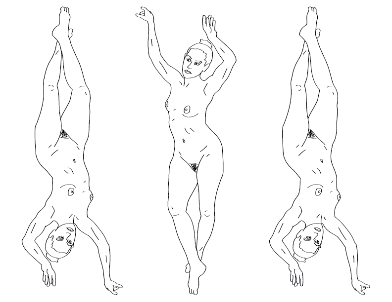 crude mono trace of a nude female figure posed on her toes, tripled and flipped