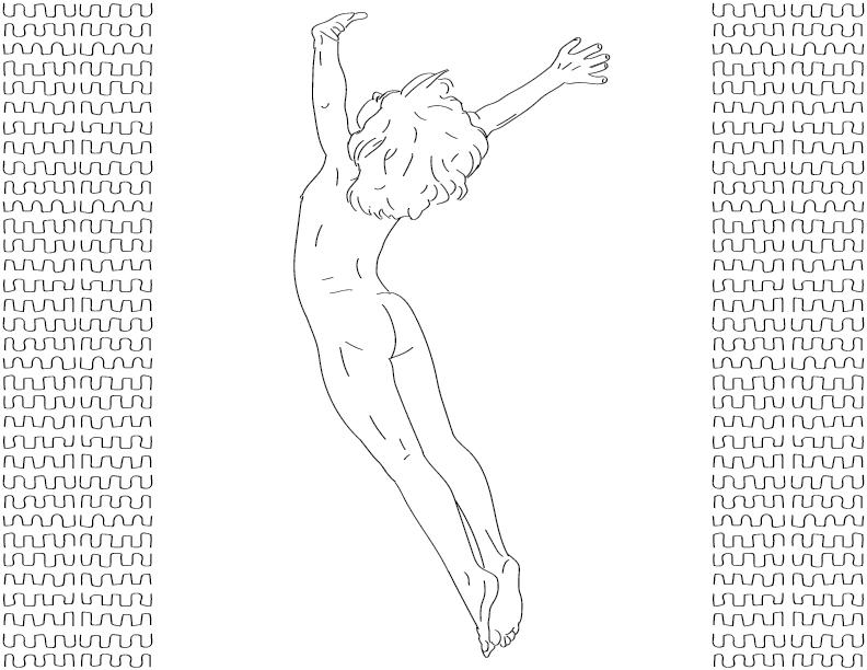 crude mono trace of a nude female figure entering into a wide dive