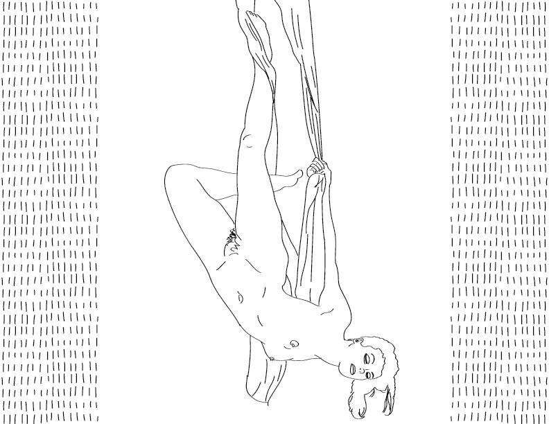 crude mono trace of a nude female figure hanging on a drape