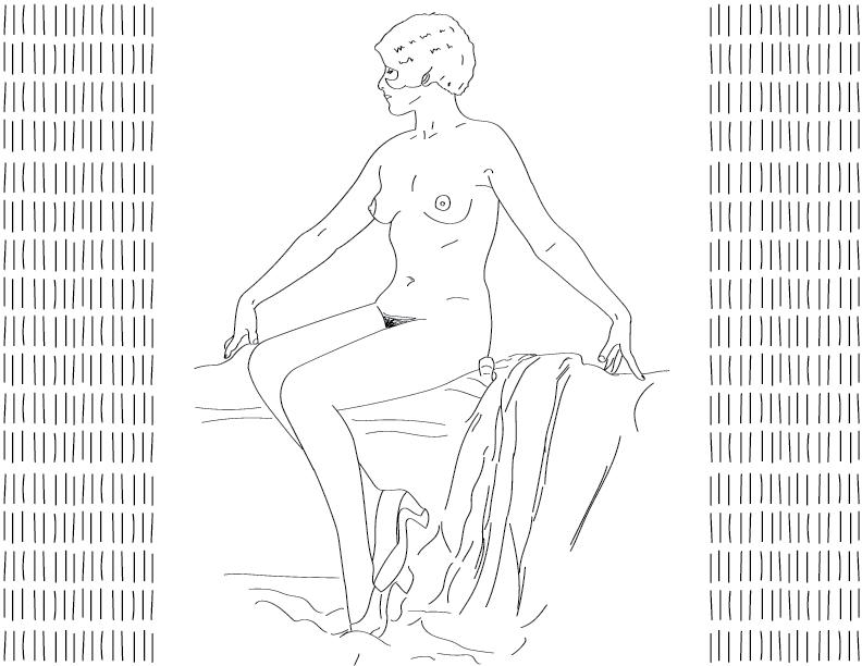 crude mono trace of a nude female figure sitting imperiously on some drapes, wearing heeled shoes