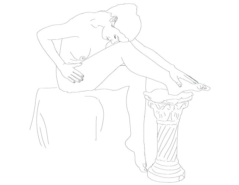 crude mono trace of a nude female figure with one foot on a little pillar thing