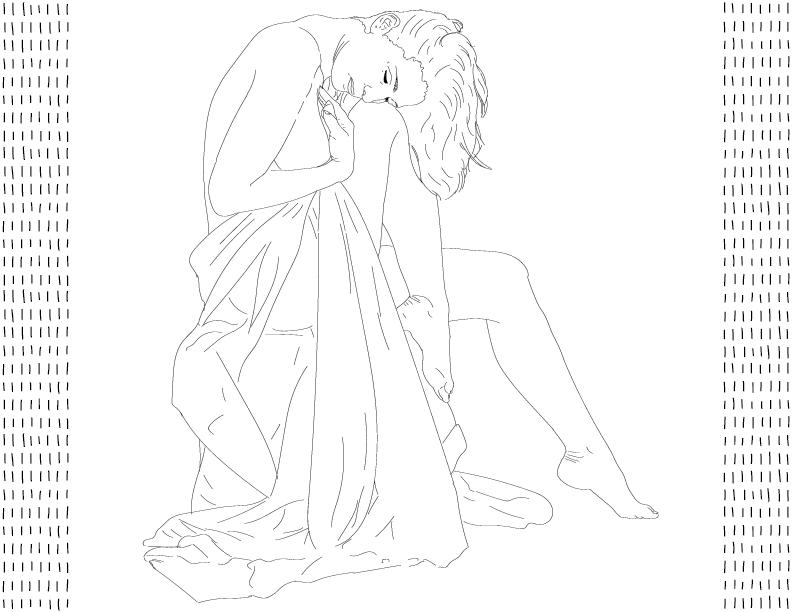 crude mono trace of a nude female figure sitting with a drape
