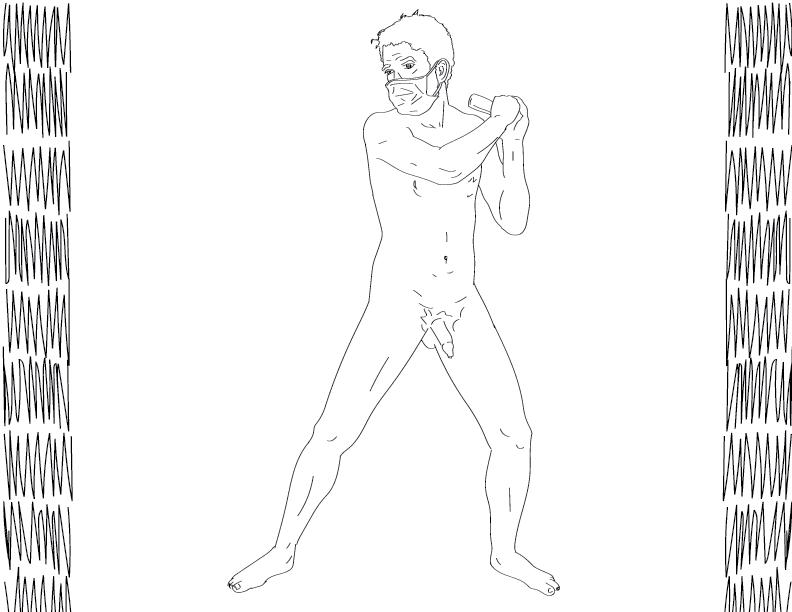 crude mono trace of a nude male figure wielding some kind of tiny club